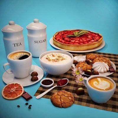 食物, 餐布, 餐具, 咖啡, 现代