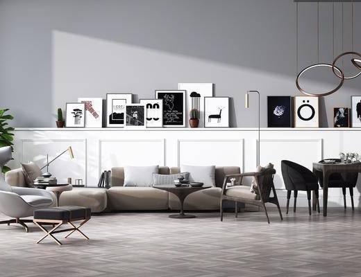 沙发组合, 多人沙发, 单人沙发, 凳子, 双人沙发, 茶几, 边几, 台灯, 餐桌, 餐椅, 单人椅, 吊灯, 餐具, 摆件, 装饰品, 陈设品, 现代