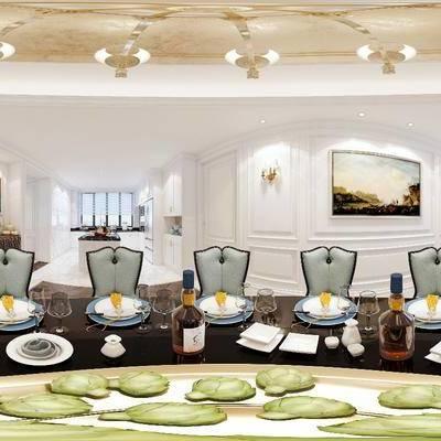 简欧餐厅, 简欧, 餐厅, 全景模型, 餐桌椅, 椅子
