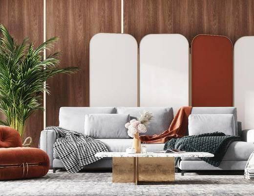 沙发组合, 茶几, 单椅, 盆栽植物, 摆件, 屏风