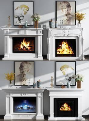 壁炉, 摆件组合, 人物画, 装饰画, 挂画, 花瓶花卉, 欧式