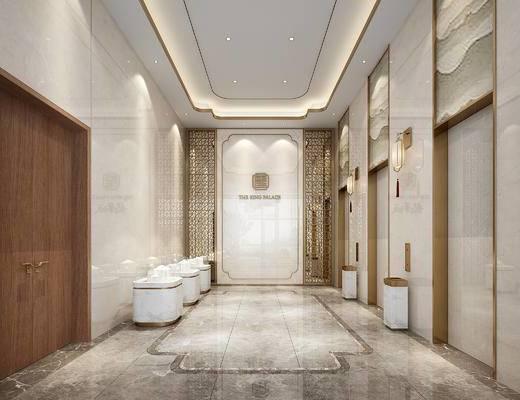 电梯厅, 户型沙盘, 大厅, 单椅, 壁灯