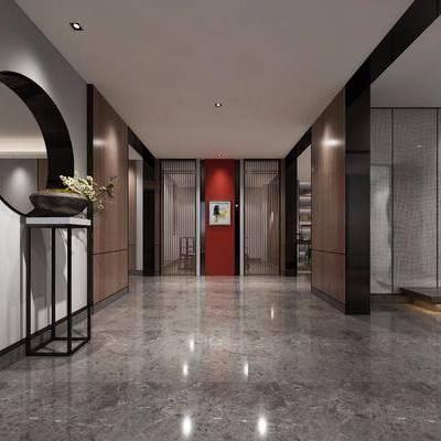 玄关, 走廊, 过道, 新中式, 中式
