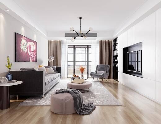 沙发组合, 茶几, 吊灯, 电视, 单椅, 地毯, 装饰画