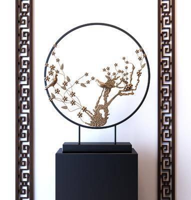 玄关柜, 花鸟金属, 装饰摆设, 摆件组合, 新中式