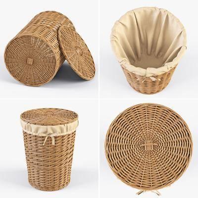 摆件组合, 藤编竹篮, 收纳篮, 垃圾桶, 现代