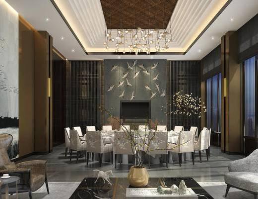 包间, 餐厅, 餐桌椅, 灯具, 休闲椅, 茶几, 沙发