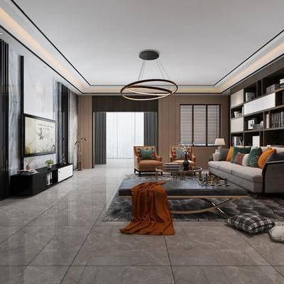 后现代轻奢客厅, 后现代客厅, 客厅, 沙发组合, 布艺沙发, 现代吊灯, 装饰柜