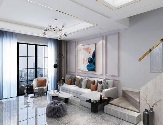 客厅, 桌椅组合, 沙发组合, 装饰画, 单椅