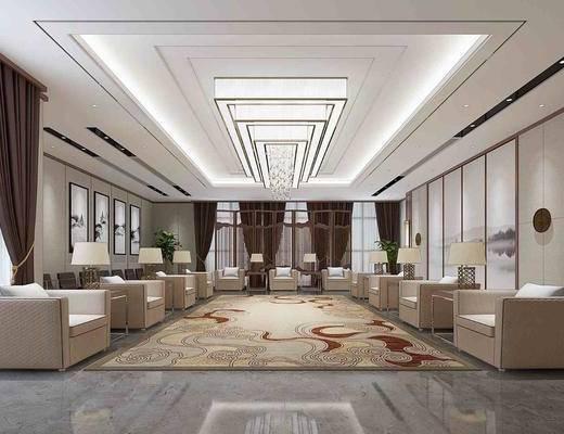 接待室, 会所贵宾, 单人沙发, 装饰画, 边几, 台灯, 吊灯, 壁灯, 盆栽, 绿植植物, 屏风, 中式