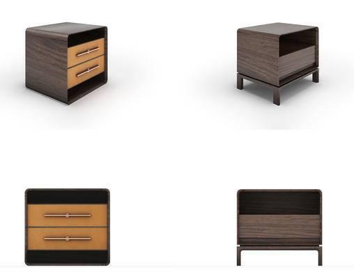 现代实木床头柜