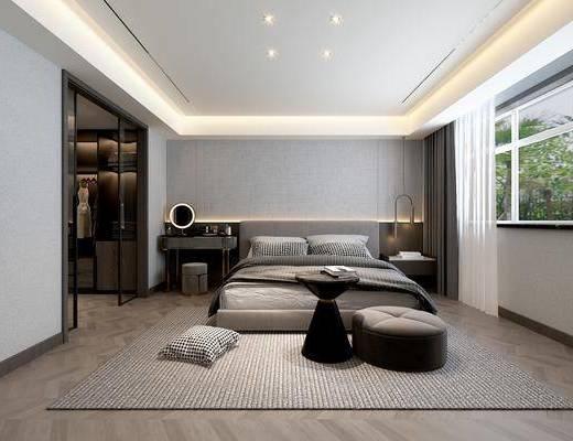 现代, 主卧, 卧室, 家装, 场景
