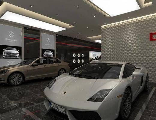 汽车4s店, 门面门头, 汽车组合, 现代