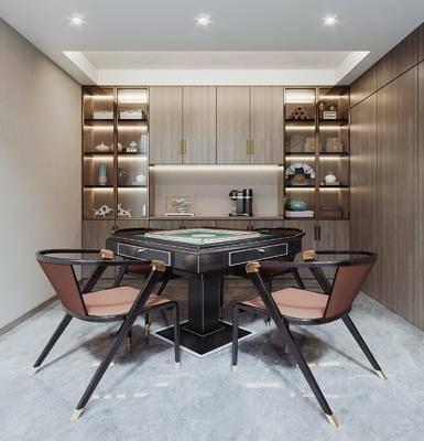 新中式麻将室, 麻将桌, 装饰柜