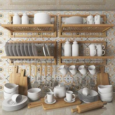 碟子, 杯子, 切菜板, 木架, 勺子, 棍子, 现代