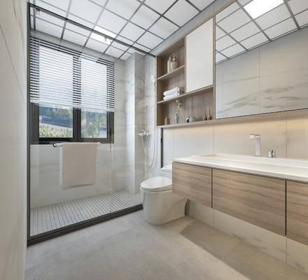 卫生间, 浴室, 坐厕, 洗手台, 镜子, 置物柜, 卫浴小件, 摆件, 毛巾, 北欧