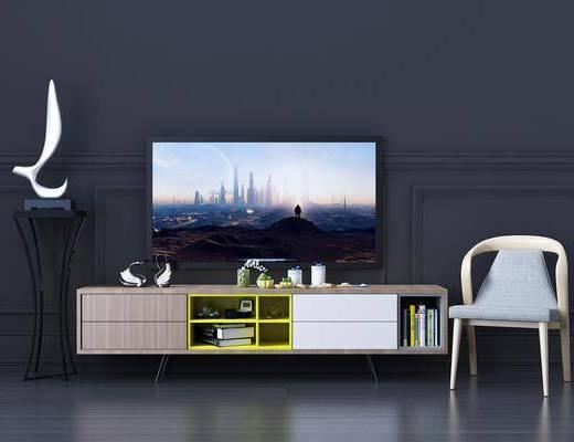 电视柜, 装饰柜, 边柜, 单人椅, 装饰架, 摆件, 装饰品, 陈设品, 北欧