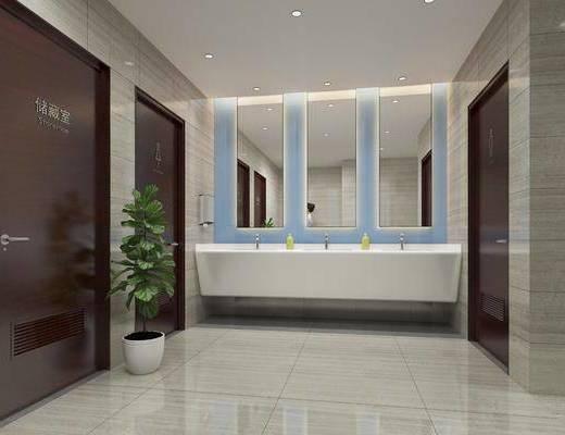 現代公共衛生間3d模型, 廁所