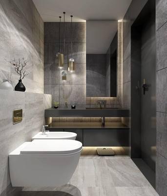 吊灯, 马桶, 洗手盆, 壁镜, 浴缸