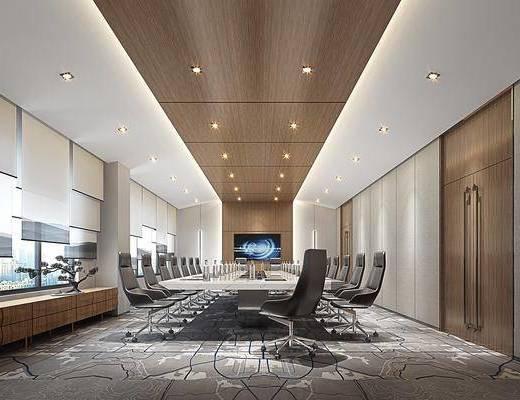会议室, 桌椅组合, 窗帘, 盆栽植物