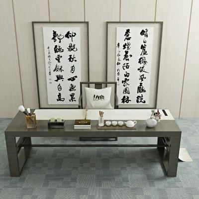 桌椅组合, 茶桌, 单人椅, 装饰品, 陈设品, 挂画, 装饰画, 摆件, 新中式, 茶几