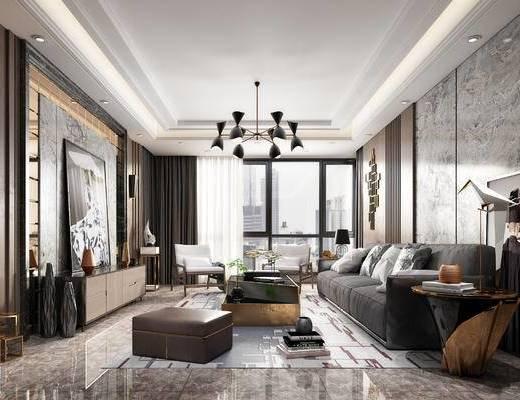 现代客厅, 现代沙发, 沙发组合, 沙发茶几组合, 吊灯, 装饰画