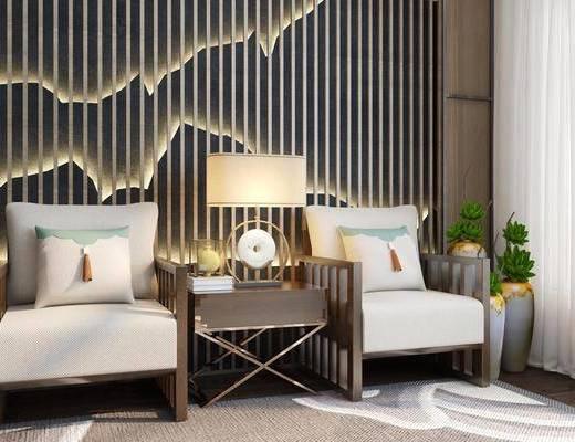 沙发椅, 茶几, 背景墙, 台灯