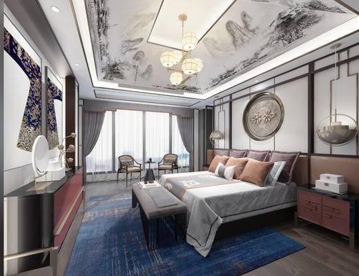 新中式卧室, 椅子, 茶几, 背景墙, 装饰柜, 台灯, 吊灯
