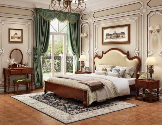 双人床, 装饰画, 壁灯, 梳妆台, 吊灯, 床头柜, 台灯