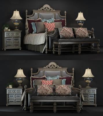 美式, 床具, 双人床, 床尾凳, 床头柜, 台灯, 床
