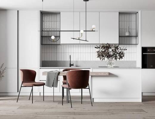 餐桌, 吊灯, 摆件, 桌椅组合, 橱柜组合