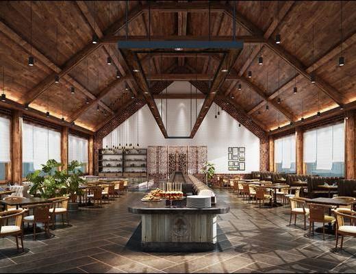 新中式餐廳, 餐桌, 木椅, 綠植, 吊燈, 新中式