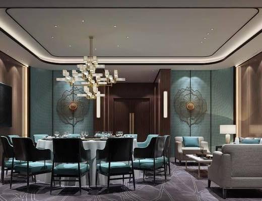餐厅, 包厢, 餐桌, 餐椅, 单人椅, 吊灯, 多人沙发, 单人沙发, 茶几, 边几, 台灯, 壁灯, 墙饰, 摆件, 装饰品, 陈设品, 新中式