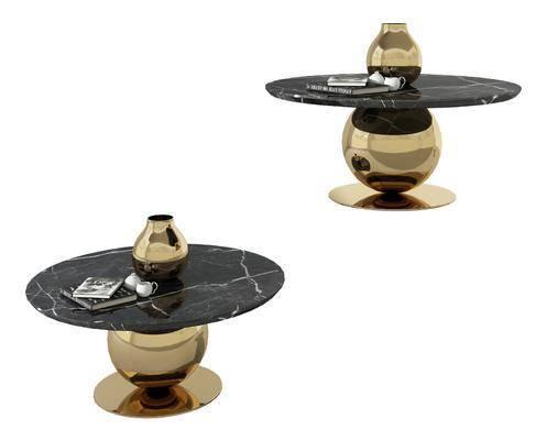 现代金属大理石圆桌