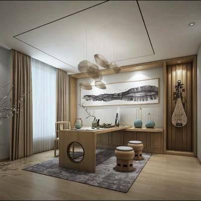 新中式茶室, 茶室, 茶桌, 桌椅组合