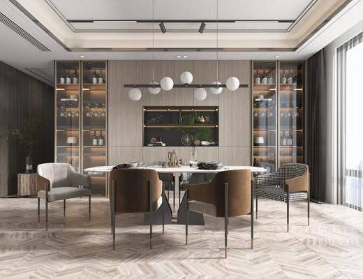 餐桌, 桌椅组合, 酒柜, 吊灯
