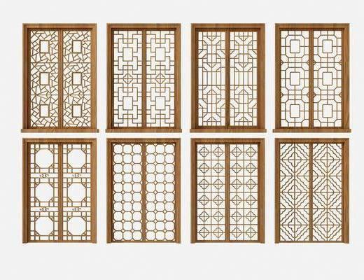 花格门窗, 平开窗, 门窗组合, 新中式
