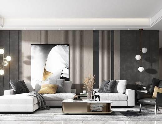 沙发组合, 茶几, 装饰画, 落地灯, 单椅, 摆件组合