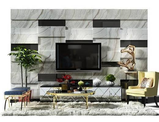 电视墙, 背景墙, 电视背景墙, 地毯, 茶几, 茶几组合, 椅子, 电视柜, 现代, 后现代
