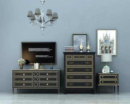 美式, 古典, 电视柜, 玄关柜, 装饰柜, 挂画, 摆件, 装饰品, 床头柜