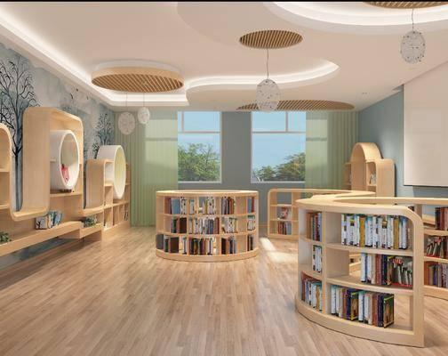 幼儿园, 现代, 图书馆, 工装