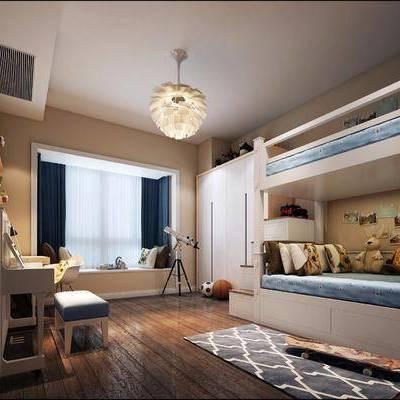儿童房, 卧室, 现代卧室, 吊灯, 床, 梳妆台, 望远镜, 玩具