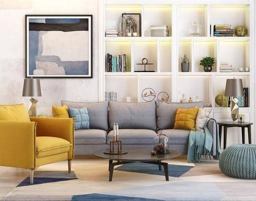 沙发组合, 沙发茶几组合, 多人沙发, 单人沙发, 茶几, 边几, 装饰柜, 置物柜, 装饰画