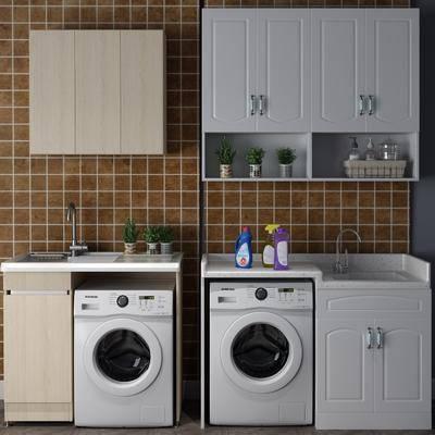 洗衣机组合, 洗手台组合, 摆件组合, 盆栽组合, 绿植植物, 现代