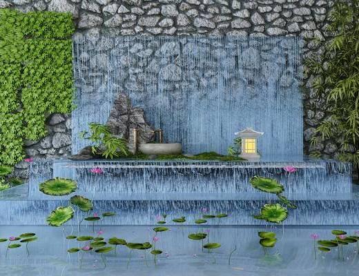 园艺小品, 新中式园艺小品, 假石, 水池, 绿植, 新中式