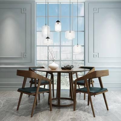 餐桌椅组合, 餐桌椅, 椅子, 桌子, 休闲椅, 单椅, 花瓶, 吊灯, 现代, 北欧