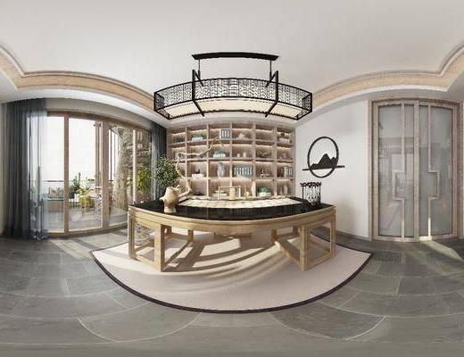 全景图, 茶室, 新中式茶室, 桌椅组合, 茶具, 书柜, 摆件组合