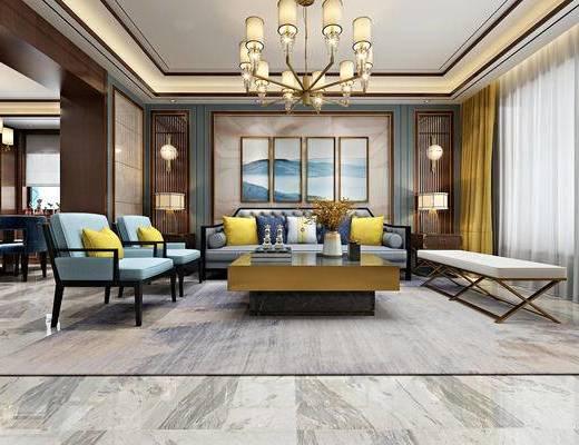 新中式客餐厅, 新中式沙发组合, 挂画, 新中式吊灯, 壁灯, 茶几, 餐桌椅组合