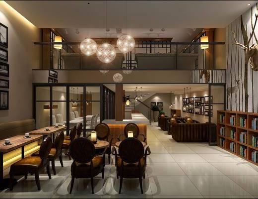 咖啡厅, 简美咖啡厅, 桌椅组合, 卡座, 单椅, 鹿角, 吊灯, 挂画, 简美, 美式