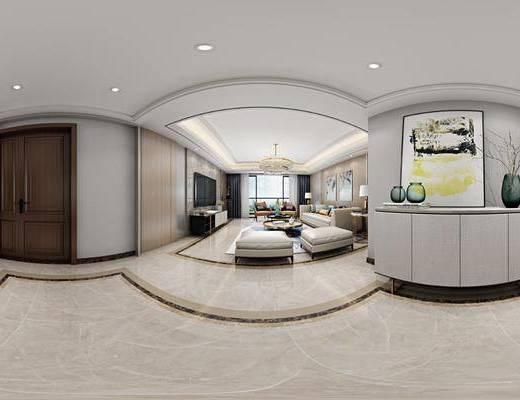 沙发组合, 茶几, 电视柜, 吊灯, 边柜, 摆件组合